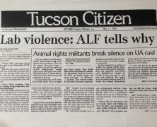 Animal Liberation Front news article collection, 1984 to 1994